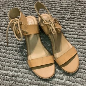 Tan Short Chunky Heel with Laces